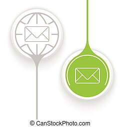 Two objects and globe symbol and envelope