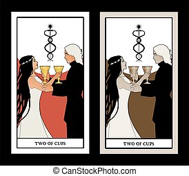 Two of cups. Tarot cards. Young couple offering a golden cup...