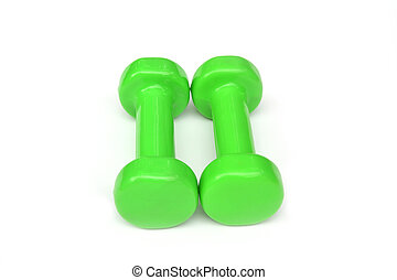 Two of green dumbbells Isolated on white background