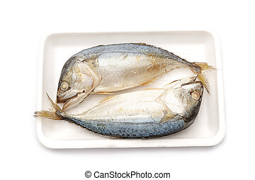 Two of steamed mackerel in foam tray