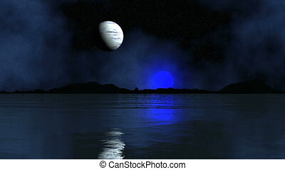 Two Of The Moon Reflected In The Water