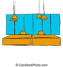 two office desk with hanging lamps