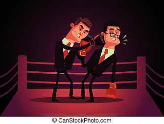 Two office workers businessman characters boxing. Vector cartoon illustration