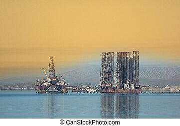 Two offshore rigs at Caspian shore near Baku
