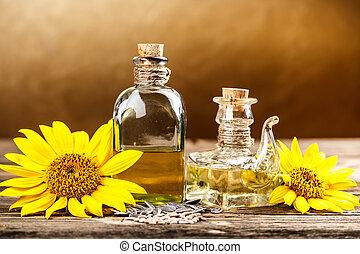 Two oil bottle