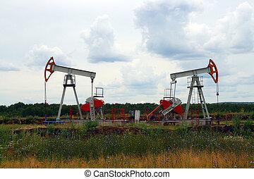 two oil pump in Russia oilfield