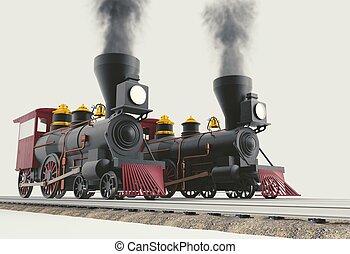 Two Old American Steam Locomotive 3D illustration