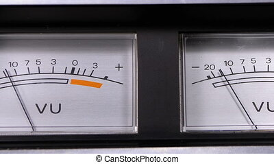 Two Old Analog Dial vu Signal Indicators with Arrow. Meter...