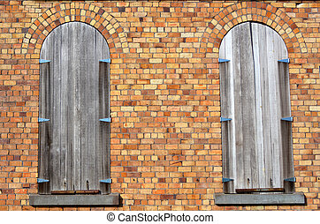 Two old closed wooden windows