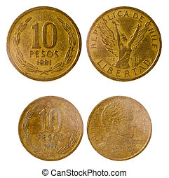 two old coins of chile