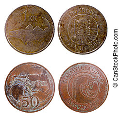 two old coins of iceland