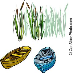two old country boats in the reeds