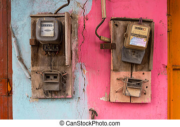 Two old electric meters