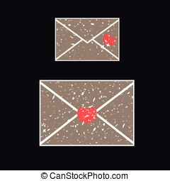 Two old envelope, covered in white grit