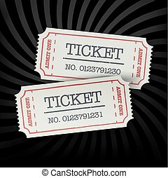 Two old-fashioned cinema tickets on dark sunburst monochrome background. All layers separated and can be edited.