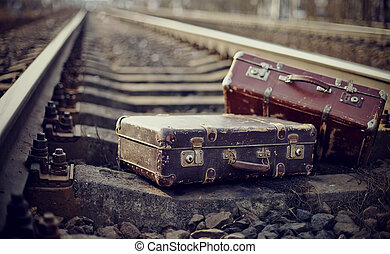 Two old fashioned forgotten a suitcases