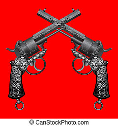 two old guns with ornament on red background