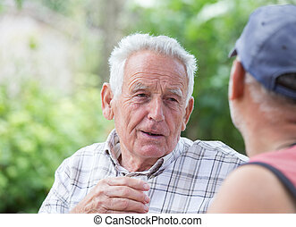 Two old men drinking alcohol in garden