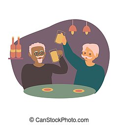 Two old men sitting at cafe or restaurant tables talking to each other, drinking beer with friend.
