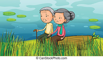 Two old people sitting near the lake