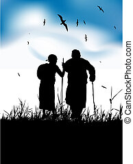 Two old people walk on nature together