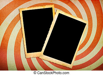 two old photo frames on vintage paper with spiral