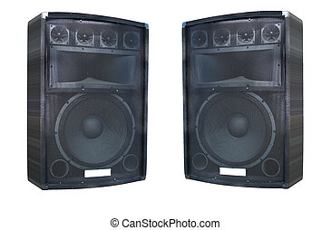 two old powerfull concerto audio speakers isolated on white