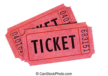 Two old red entrance tickets isolated white