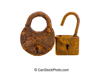 two old rusted lock isolated on white