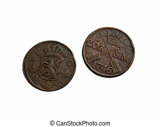 Two old Swedish coins of the 18th century