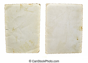 Two old vintage papers isolated on white background
