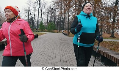 Two old women walking on sticks of nordic walking on a...