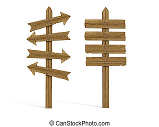 two old wooden empty sign post isolated on white - rendering