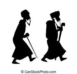 two oldsters on white background vector