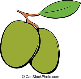 Two olives icon cartoon - Two olives icon in cartoon style ...