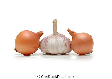 Two onions and garlic clove isolated on white