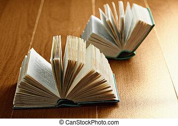 Two open books closeup