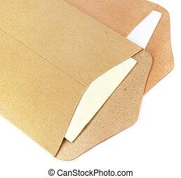 Two open envelopes over white background