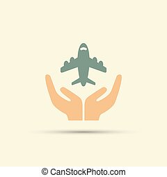 Two open hands holding airplane isolated vector colored icon