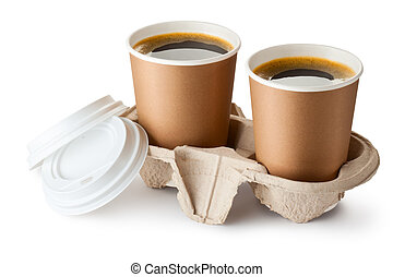 Two opened take-out coffee in holder. Isolated on a white.