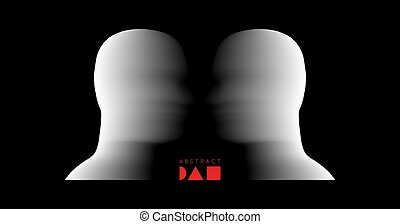 Two opponents facing each other. Conflict of interest. The concept of rivalry. Minimalistic design for business presentations, flyers or posters. 3d vector illustration.