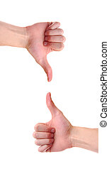 Two Opposing viewpoints - Isolated white Caucasian hands...