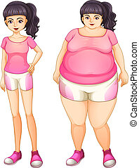 Illustration of the two opposite ladies wearing pink on a white background