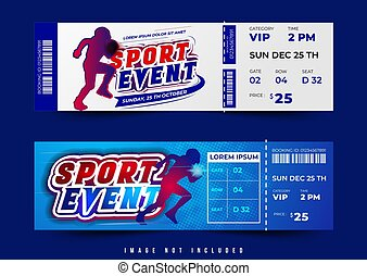 two option ticket or voucher design vector, conceptual design theme with simple layout and blue light abstract background and balance composition, editable and customize