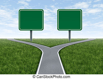 Two options with blank road signs facing a challenging...