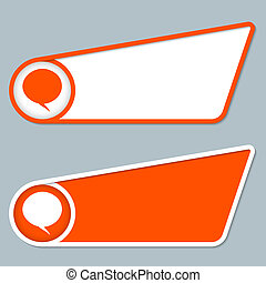 two orange boxes for any text with speech bubble