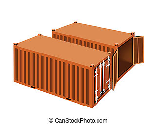 Two Orange Cargo Containers on White Background
