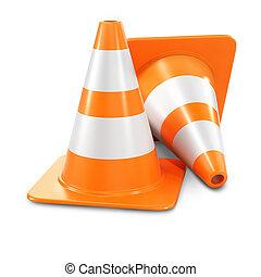 Two orange traffic cones