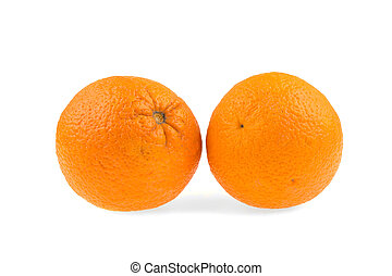 Two oranges on a white background, isolated.