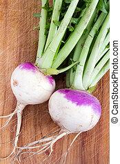 two organic purple top turnip